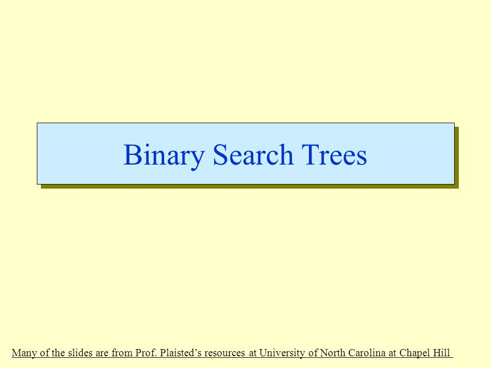 Binary Search Trees Many of the slides are from Prof.