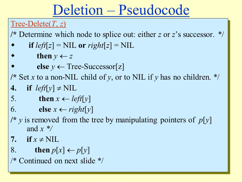 Deletion – Pseudocode Tree-Delete(T, z) /* Determine which node to splice out: either z or z's successor.