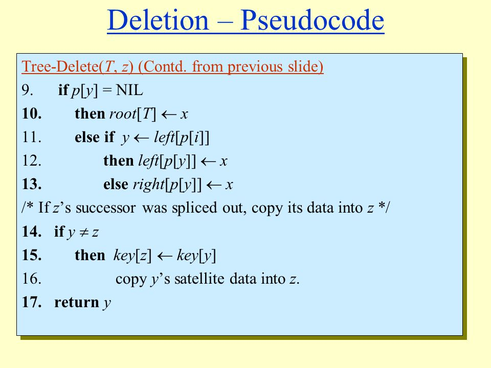 Deletion – Pseudocode Tree-Delete(T, z) (Contd.from previous slide) 9.