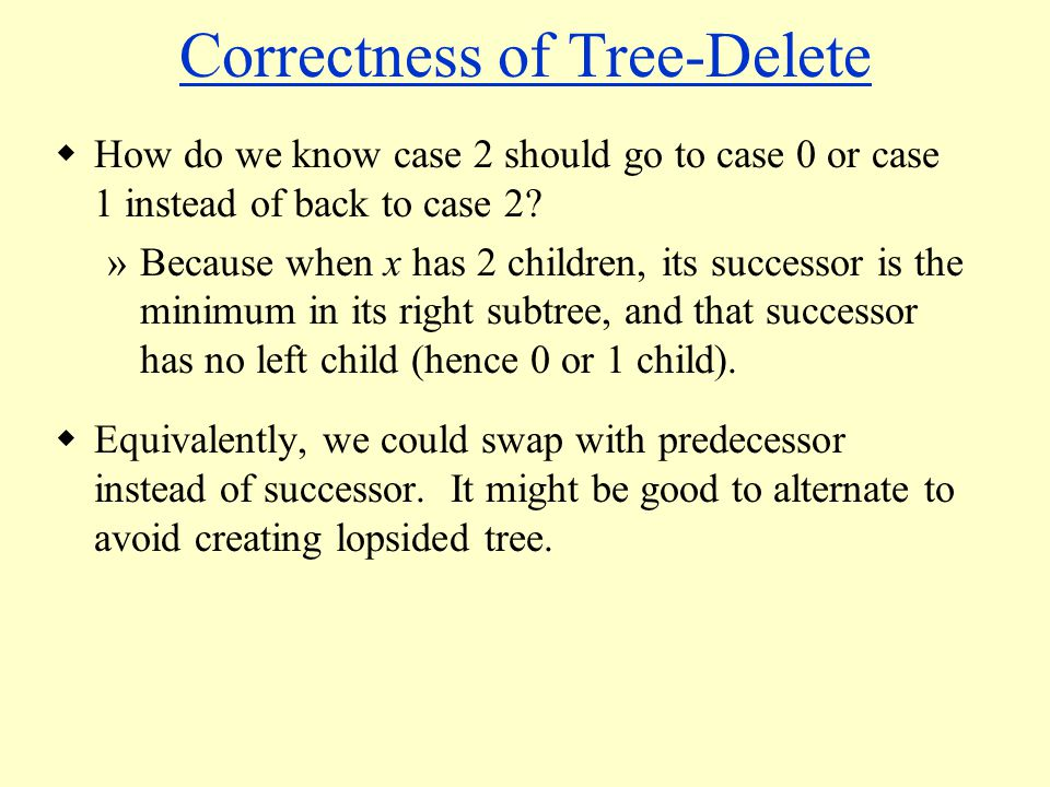 Correctness of Tree-Delete  How do we know case 2 should go to case 0 or case 1 instead of back to case 2.