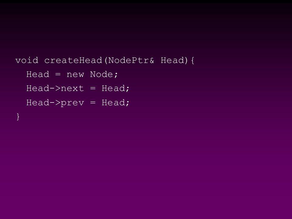 void createHead(NodePtr& Head){ Head = new Node; Head->next = Head; Head->prev = Head; }