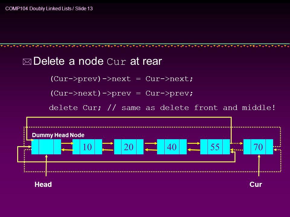 COMP104 Doubly Linked Lists / Slide 13  Delete a node Cur at rear (Cur->prev)->next = Cur->next; (Cur->next)->prev = Cur->prev; delete Cur;// same as delete front and middle.