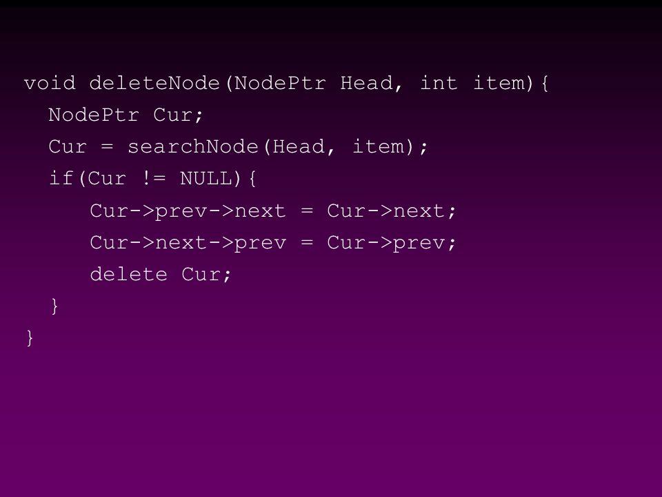 void deleteNode(NodePtr Head, int item){ NodePtr Cur; Cur = searchNode(Head, item); if(Cur != NULL){ Cur->prev->next = Cur->next; Cur->next->prev = Cur->prev; delete Cur; }