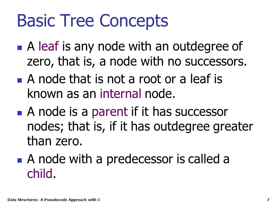 Data Structures: A Pseudocode Approach with C 28 Some Properties of Binary Trees The formula for the maximum number of nodes is derived from the fact that each node can have only two descendents.