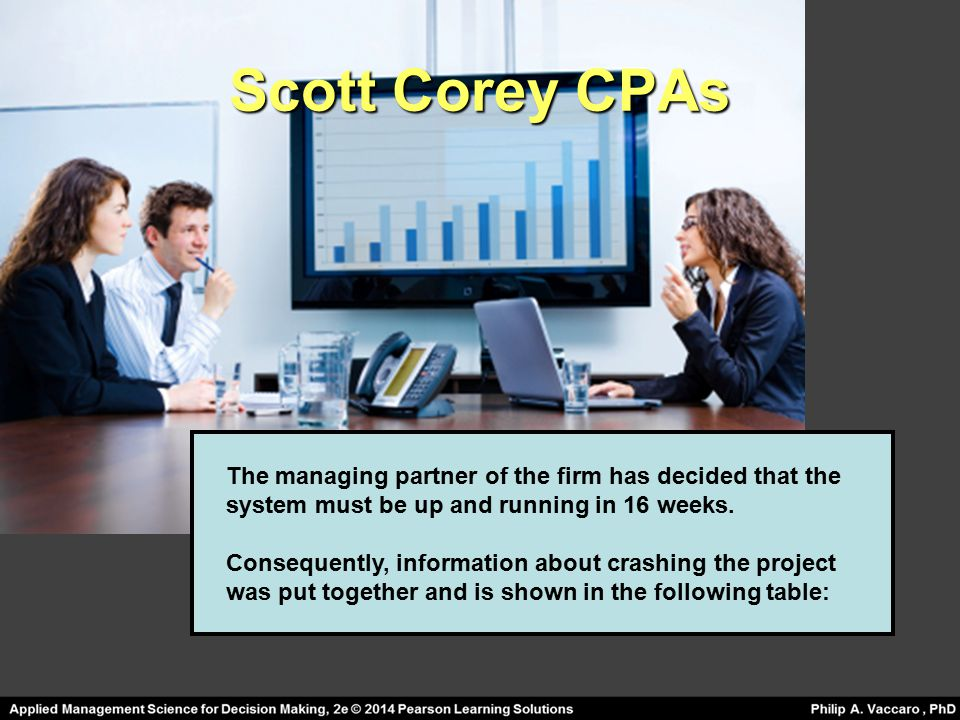 Scott Corey CPAs The managing partner of the firm has decided that the system must be up and running in 16 weeks.