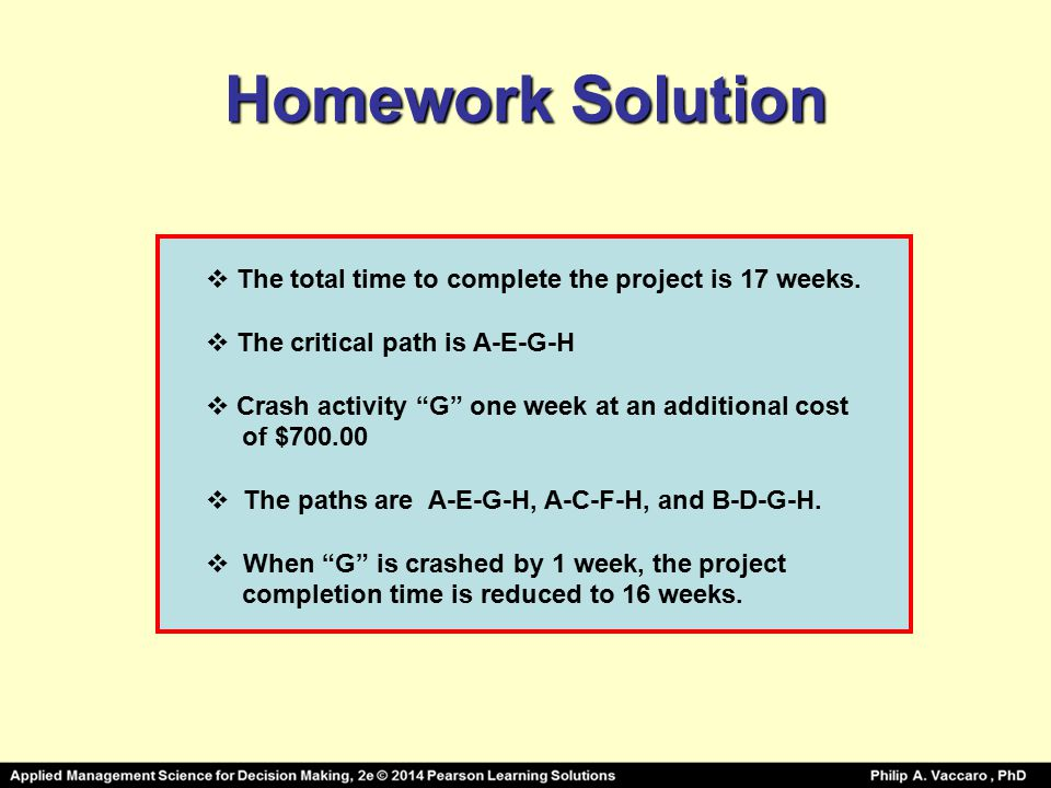 Homework Solution  The total time to complete the project is 17 weeks.