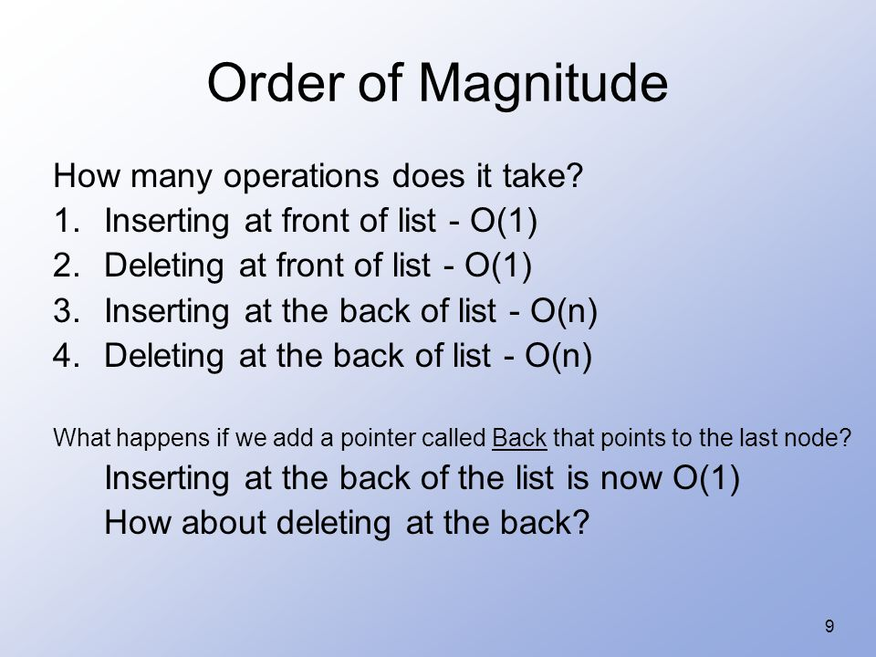 10 Order of Magnitude The list is still a Singly Linked List.