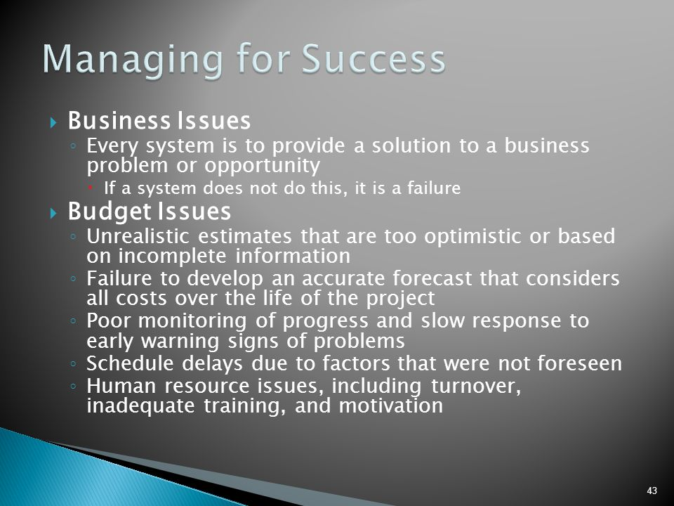  Business Issues ◦ Every system is to provide a solution to a business problem or opportunity  If a system does not do this, it is a failure  Budge