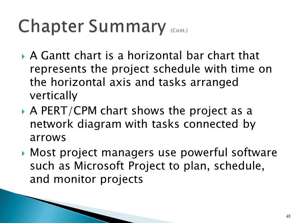  A Gantt chart is a horizontal bar chart that represents the project schedule with time on the horizontal axis and tasks arranged vertically  A PERT