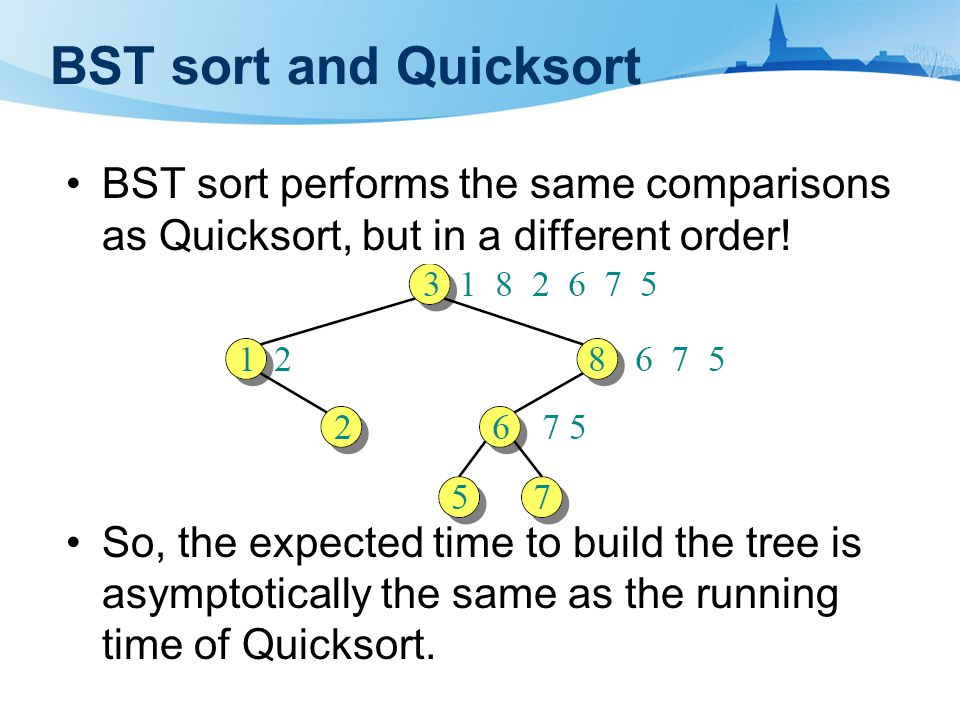 BST sort and Quicksort BST sort performs the same comparisons as Quicksort, but in a different order.