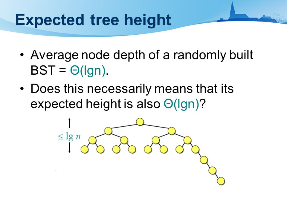Expected tree height Average node depth of a randomly built BST = Θ(lgn).