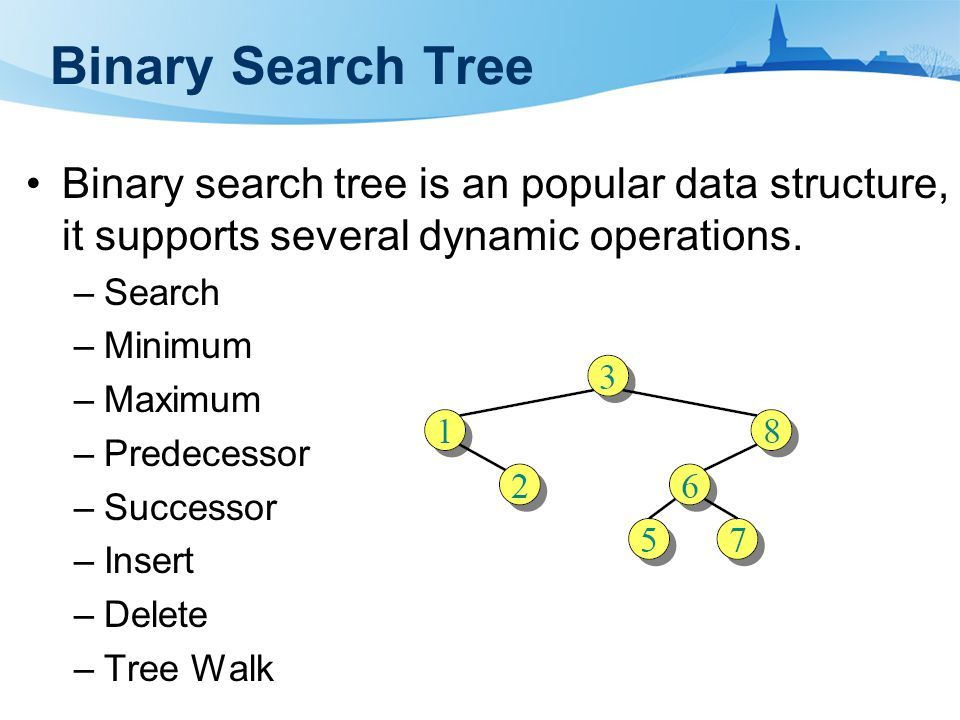 Data structure of binary search tree A BST tree can be represented by a linked data structure in which each node is an structure.