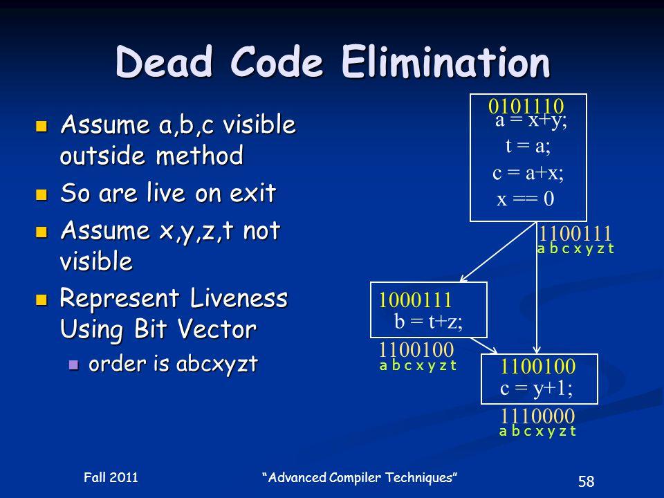 58 Fall 2011 Advanced Compiler Techniques Dead Code Elimination a = x+y; t = a; c = a+x; x == 0 b = t+z; c = y+1; 1100100 1110000 Assume a,b,c visible outside method Assume a,b,c visible outside method So are live on exit So are live on exit Assume x,y,z,t not visible Assume x,y,z,t not visible Represent Liveness Using Bit Vector Represent Liveness Using Bit Vector order is abcxyzt order is abcxyzt 1100111 1000111 1100100 0101110 a b c x y z t