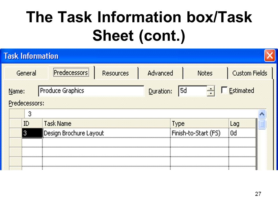 27 The Task Information box/Task Sheet (cont.)