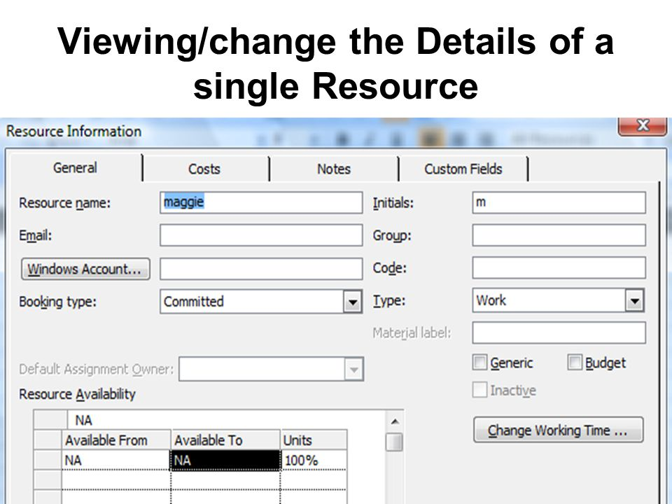 44 Viewing/change the Details of a single Resource