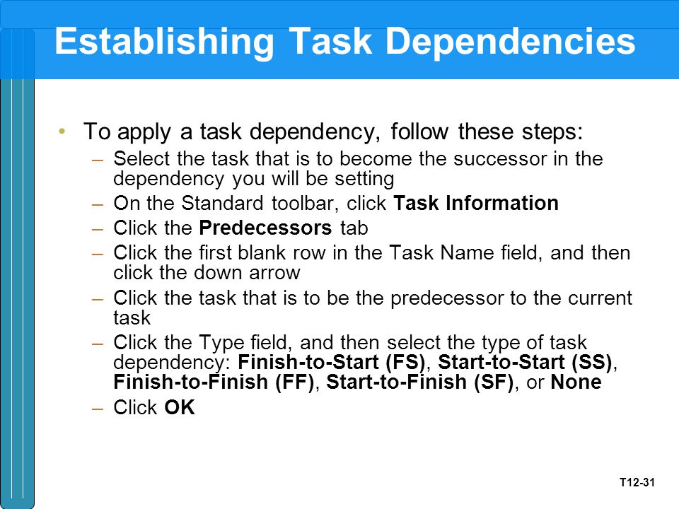 T12-31 Establishing Task Dependencies To apply a task dependency, follow these steps: –Select the task that is to become the successor in the dependen