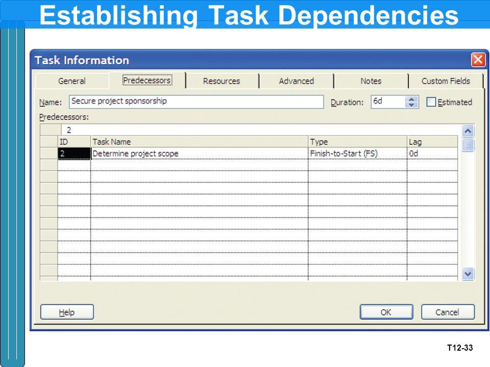 T12-33 Establishing Task Dependencies