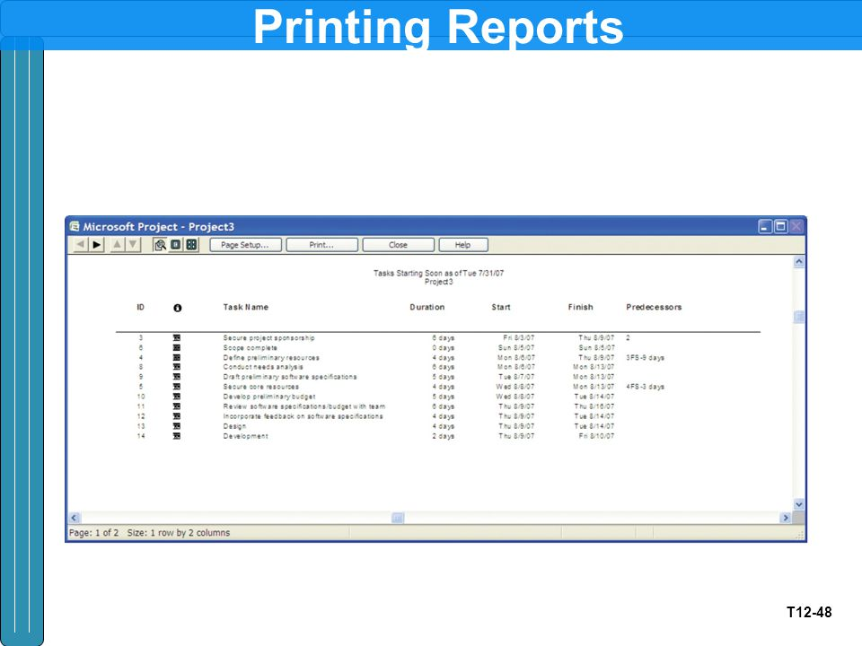 T12-48 Printing Reports