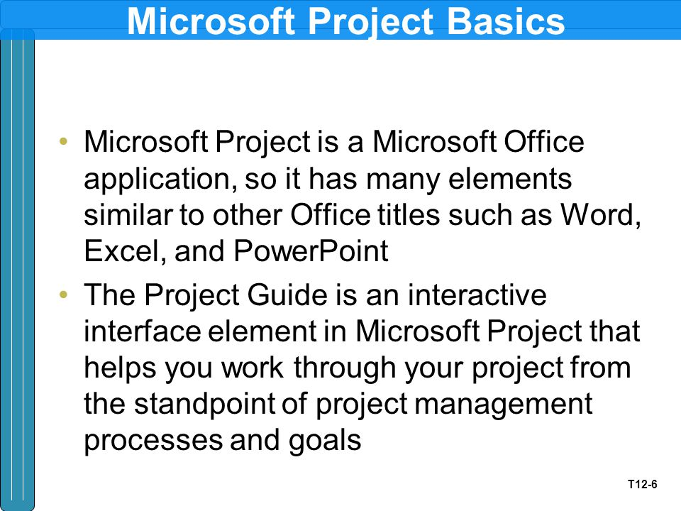 T12-6 Microsoft Project Basics Microsoft Project is a Microsoft Office application, so it has many elements similar to other Office titles such as Word, Excel, and PowerPoint The Project Guide is an interactive interface element in Microsoft Project that helps you work through your project from the standpoint of project management processes and goals
