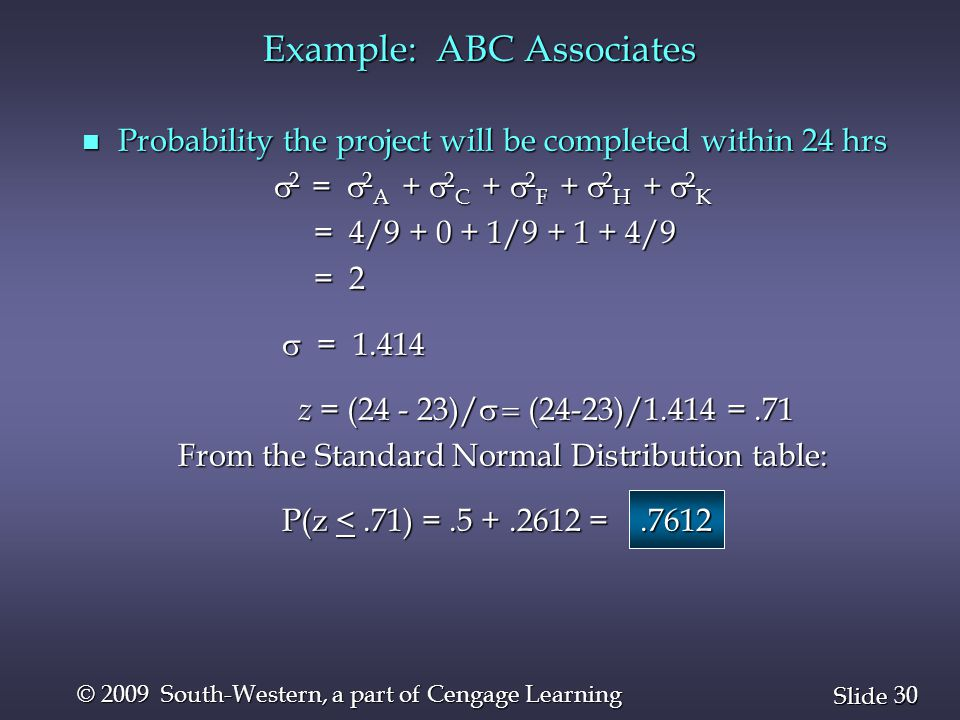 30 Slide © 2009 South-Western, a part of Cengage Learning n Probability the project will be completed within 24 hrs  2 =  2 A +  2 C +  2 F +  2