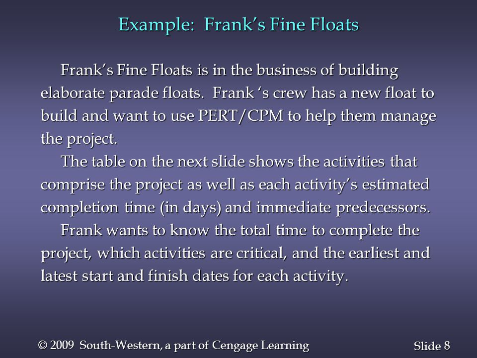8 8 Slide © 2009 South-Western, a part of Cengage Learning Example: Frank's Fine Floats Frank's Fine Floats is in the business of building Frank's Fin