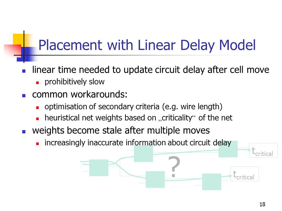 18 ? t critical Placement with Linear Delay Model linear time needed to update circuit delay after cell move prohibitively slow common workarounds: op