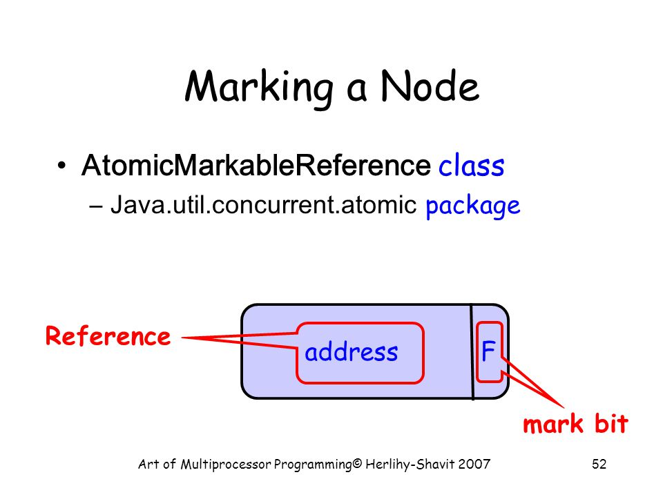 Art of Multiprocessor Programming© Herlihy-Shavit 200752 Marking a Node AtomicMarkableReference class –Java.util.concurrent.atomic package address F mark bit Reference