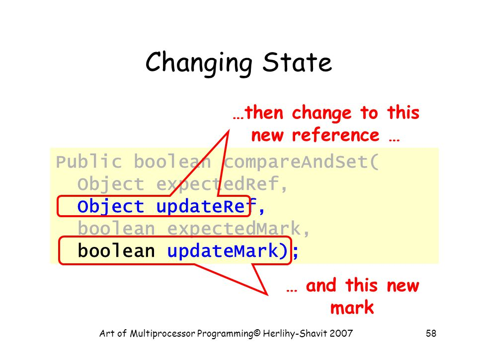 Art of Multiprocessor Programming© Herlihy-Shavit 200758 Changing State Public boolean compareAndSet( Object expectedRef, Object updateRef, boolean expectedMark, boolean updateMark); …then change to this new reference … … and this new mark