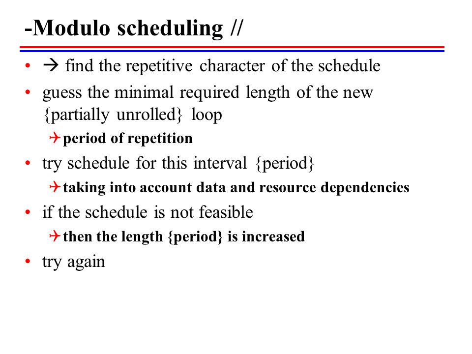 -Modulo scheduling //  find the repetitive character of the schedule guess the minimal required length of the new {partially unrolled} loop  period of repetition try schedule for this interval {period}  taking into account data and resource dependencies if the schedule is not feasible  then the length {period} is increased try again