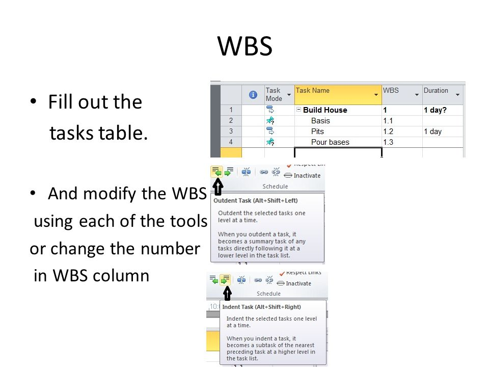 WBS Fill out the tasks table.
