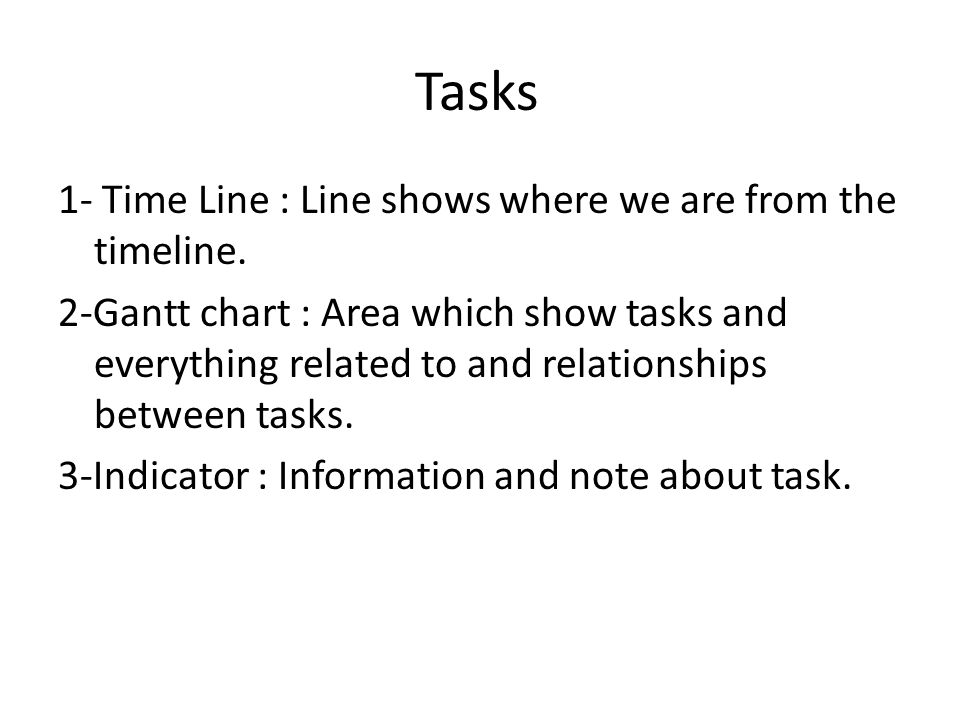 Tasks 1- Time Line : Line shows where we are from the timeline.