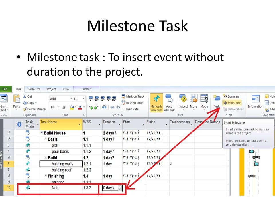 Milestone Task Milestone task : To insert event without duration to the project.