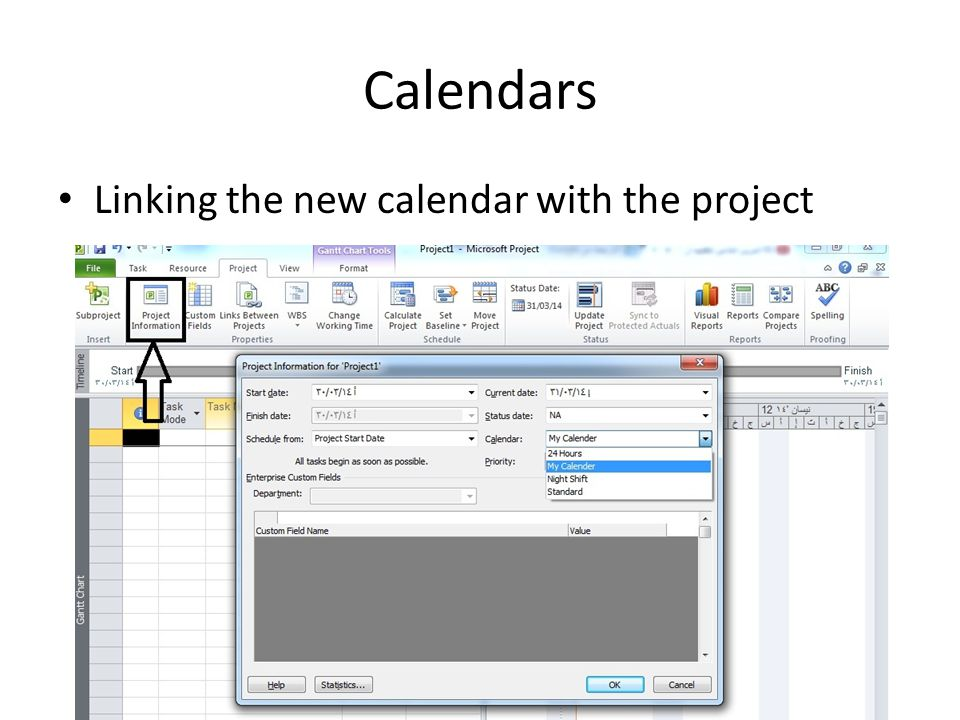 Calendars Linking the new calendar with the project