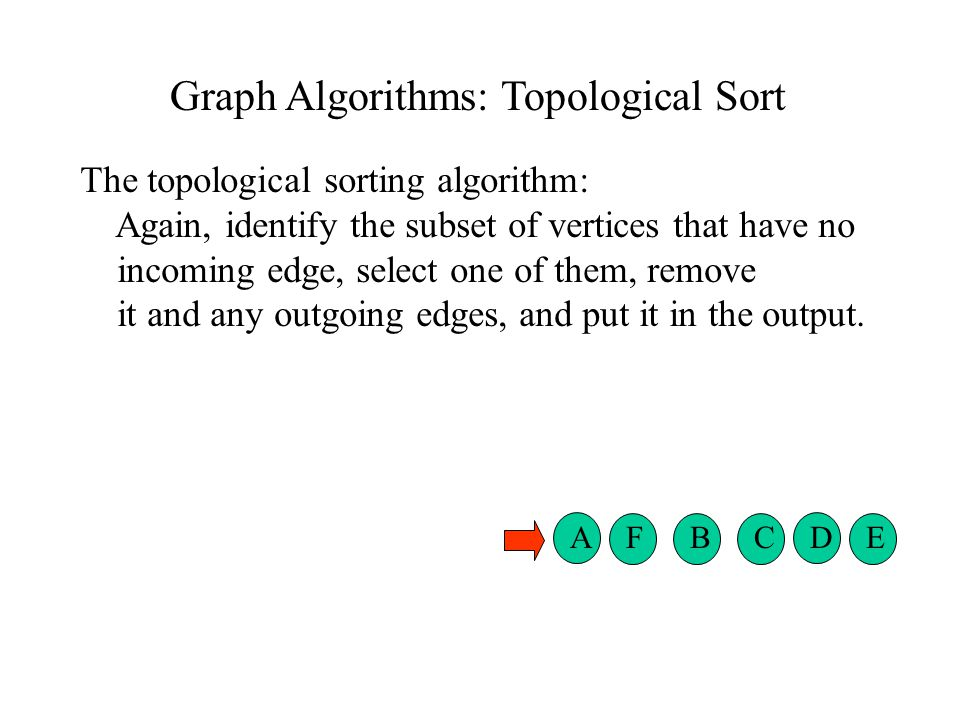 Graph Algorithms: Topological Sort The topological sorting algorithm: Again, identify the subset of vertices that have no incoming edge, select one of them, remove it and any outgoing edges, and put it in the output.