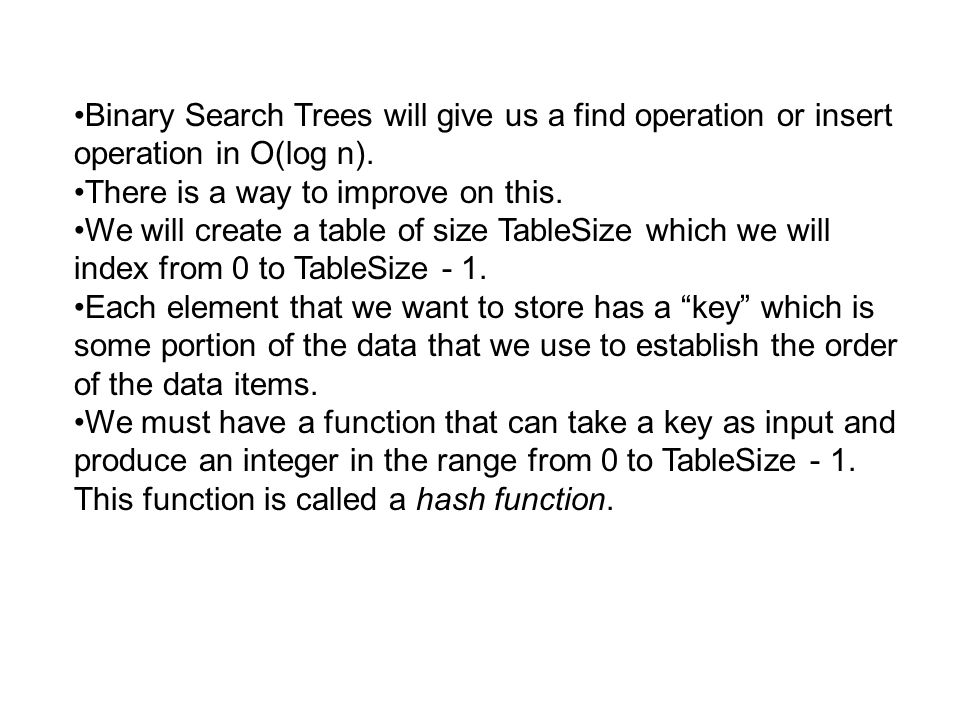 Binary Search Trees will give us a find operation or insert operation in O(log n).