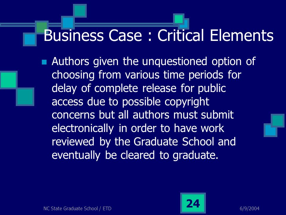 6/9/2004NC State Graduate School / ETD 24 Business Case : Critical Elements Authors given the unquestioned option of choosing from various time period