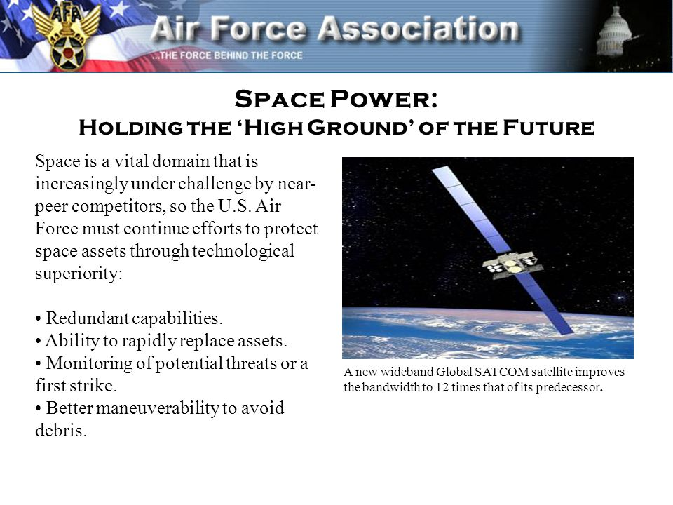 Space Power: Holding the 'High Ground' of the Future Space is a vital domain that is increasingly under challenge by near- peer competitors, so the U.S.