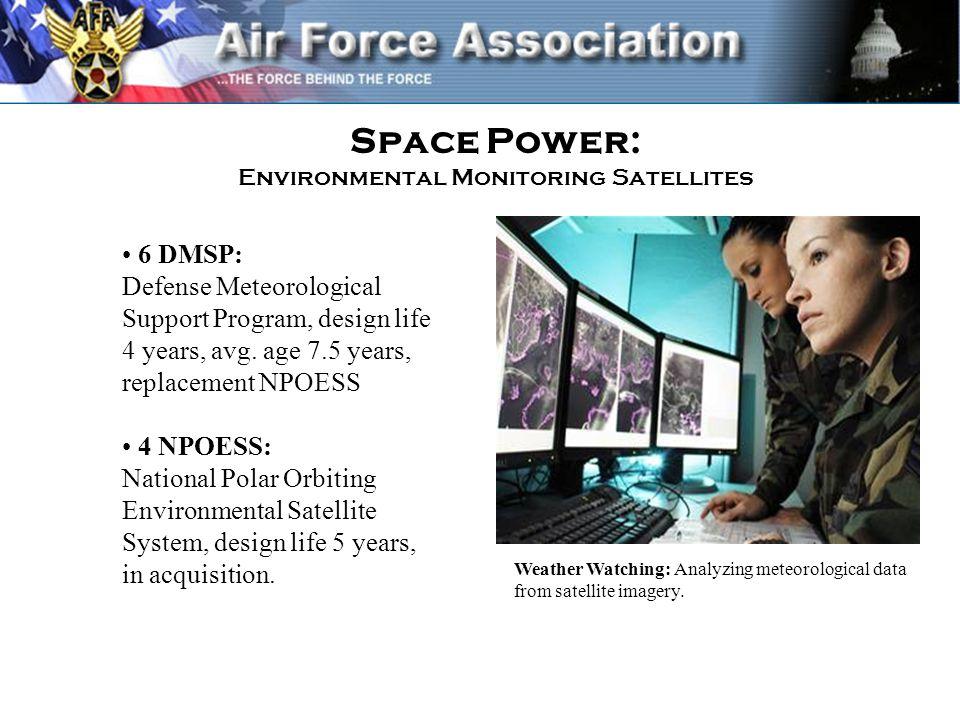Space Power: Environmental Monitoring Satellites 6 DMSP: Defense Meteorological Support Program, design life 4 years, avg.