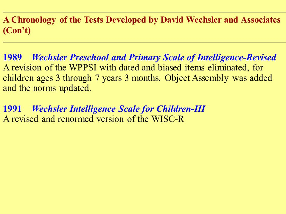 ______________________________________________________________ A Chronology of the Tests Developed by David Wechsler and Associates (Con't) ______________________________________________________________ 1989Wechsler Preschool and Primary Scale of Intelligence-Revised A revision of the WPPSI with dated and biased items eliminated, for children ages 3 through 7 years 3 months.