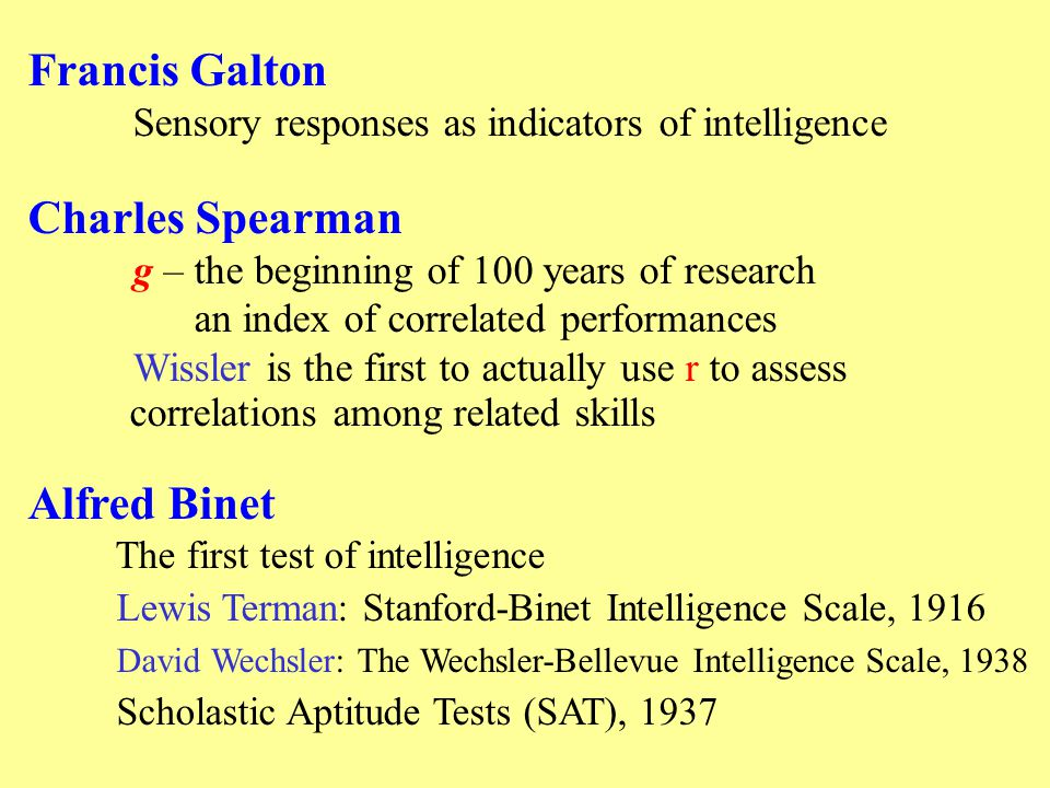 Francis Galton Sensory responses as indicators of intelligence Charles Spearman g – the beginning of 100 years of research an index of correlated performances Wissler is the first to actually use r to assess correlations among related skills Alfred Binet The first test of intelligence Lewis Terman: Stanford-Binet Intelligence Scale, 1916 David Wechsler: The Wechsler-Bellevue Intelligence Scale, 1938 Scholastic Aptitude Tests (SAT), 1937