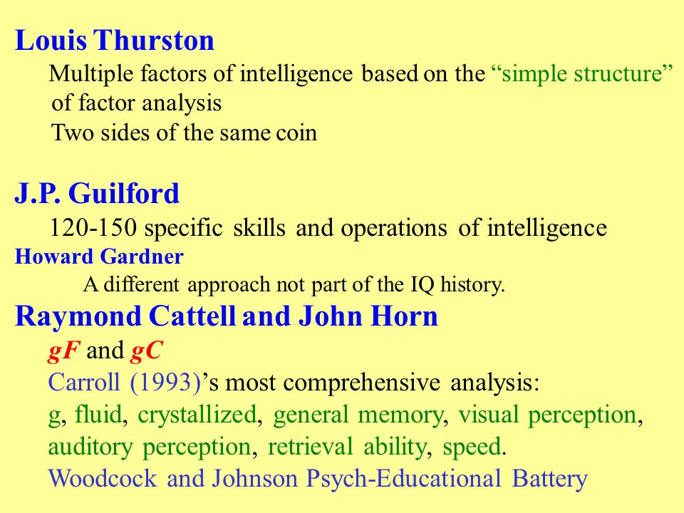 Louis Thurston Multiple factors of intelligence based on the simple structure of factor analysis Two sides of the same coin J.P.