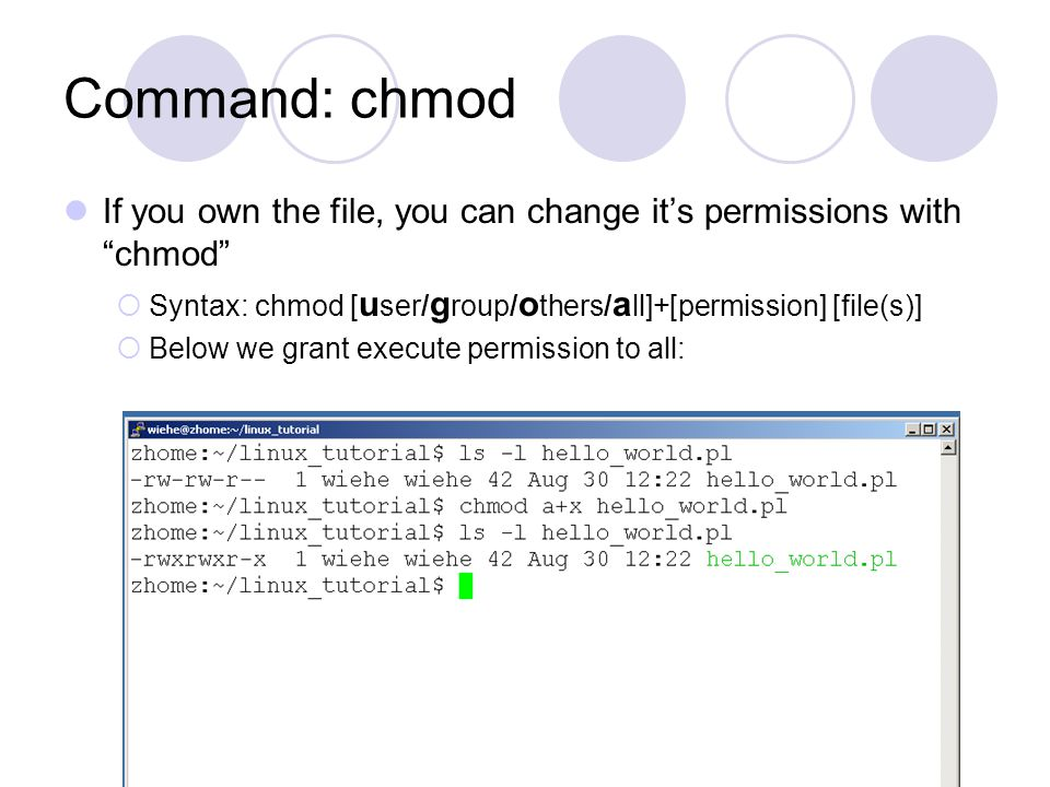 Command: chmod If you own the file, you can change it's permissions with chmod  Syntax: chmod [ u ser/ g roup/ o thers/ a ll]+[permission] [file(s)]  Below we grant execute permission to all: