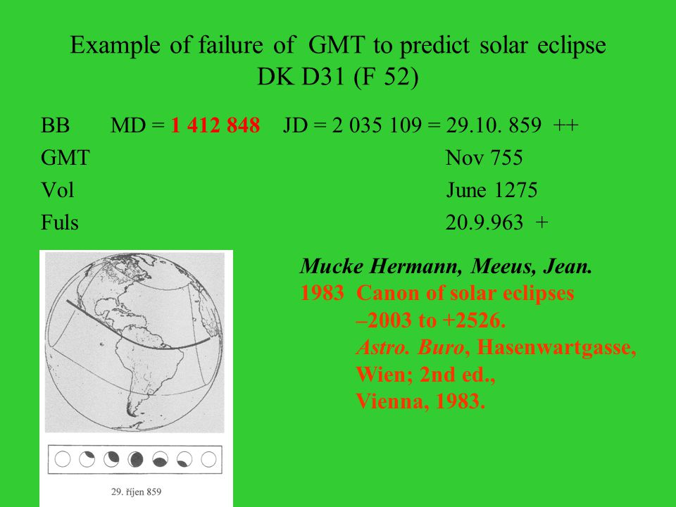 Example of failure of GMT to predict solar eclipse DK D31 (F 52) BB MD = 1 412 848 JD = 2 035 109 = 29.10.