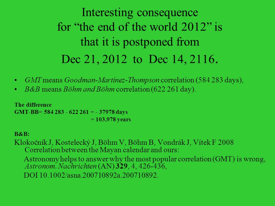 Interesting consequence for the end of the world 2012 is that it is postponed from Dec 21, 2012 to Dec 14, 2116.