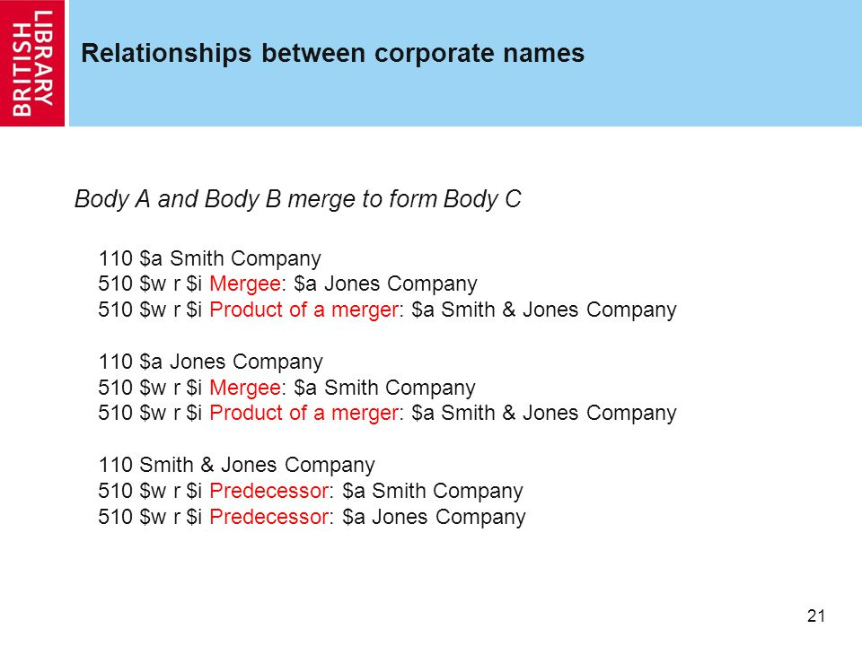 21 Relationships between corporate names Body A and Body B merge to form Body C 110 $a Smith Company 510 $w r $i Mergee: $a Jones Company 510 $w r $i Product of a merger: $a Smith & Jones Company 110 $a Jones Company 510 $w r $i Mergee: $a Smith Company 510 $w r $i Product of a merger: $a Smith & Jones Company 110 Smith & Jones Company 510 $w r $i Predecessor: $a Smith Company 510 $w r $i Predecessor: $a Jones Company