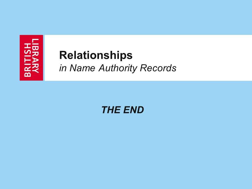 Relationships in Name Authority Records THE END