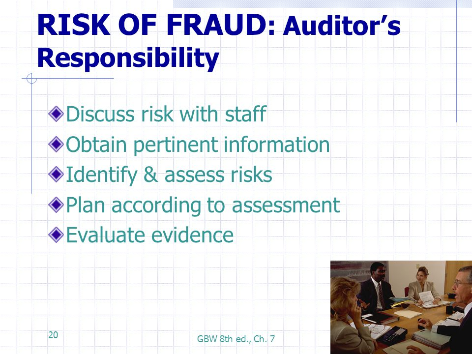 GBW 8th ed., Ch. 7 20 RISK OF FRAUD : Auditor's Responsibility Discuss risk with staff Obtain pertinent information Identify & assess risks Plan accor