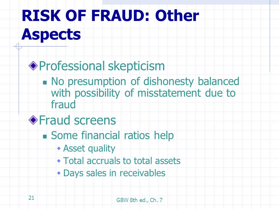 GBW 8th ed., Ch. 7 21 RISK OF FRAUD: Other Aspects Professional skepticism No presumption of dishonesty balanced with possibility of misstatement due