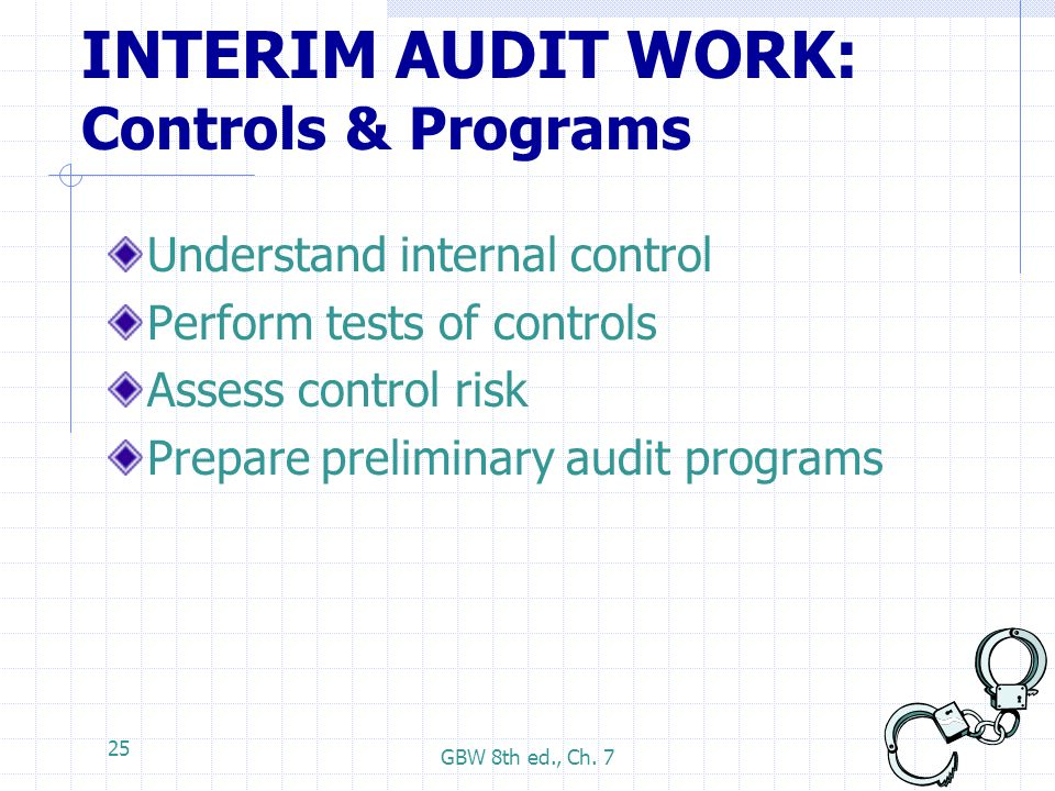 GBW 8th ed., Ch. 7 25 INTERIM AUDIT WORK: Controls & Programs Understand internal control Perform tests of controls Assess control risk Prepare prelim