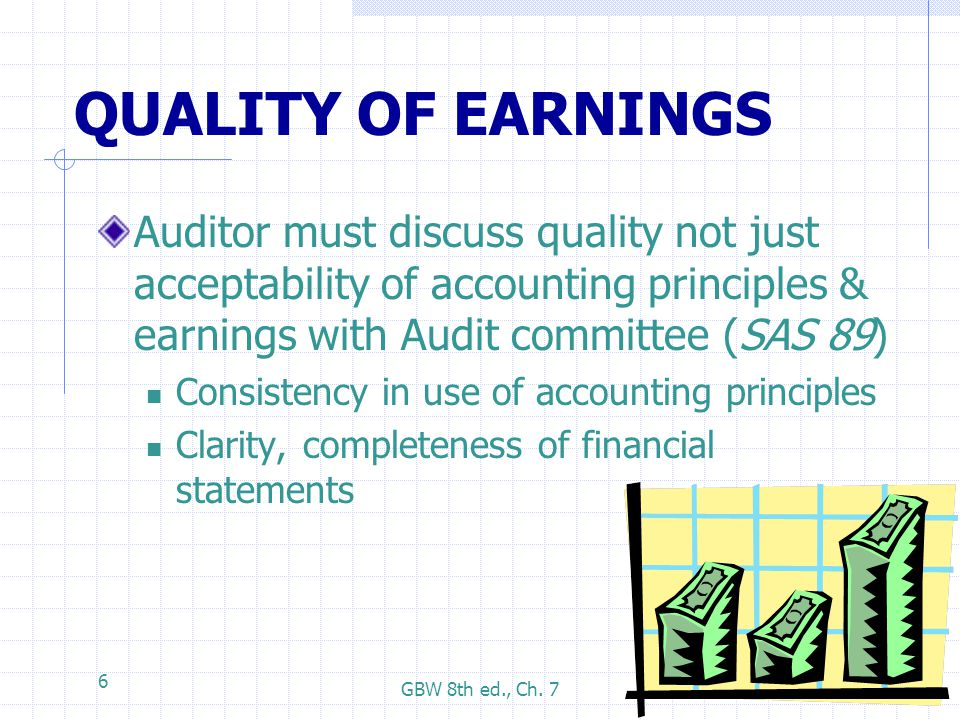 GBW 8th ed., Ch. 7 6 QUALITY OF EARNINGS Auditor must discuss quality not just acceptability of accounting principles & earnings with Audit committee
